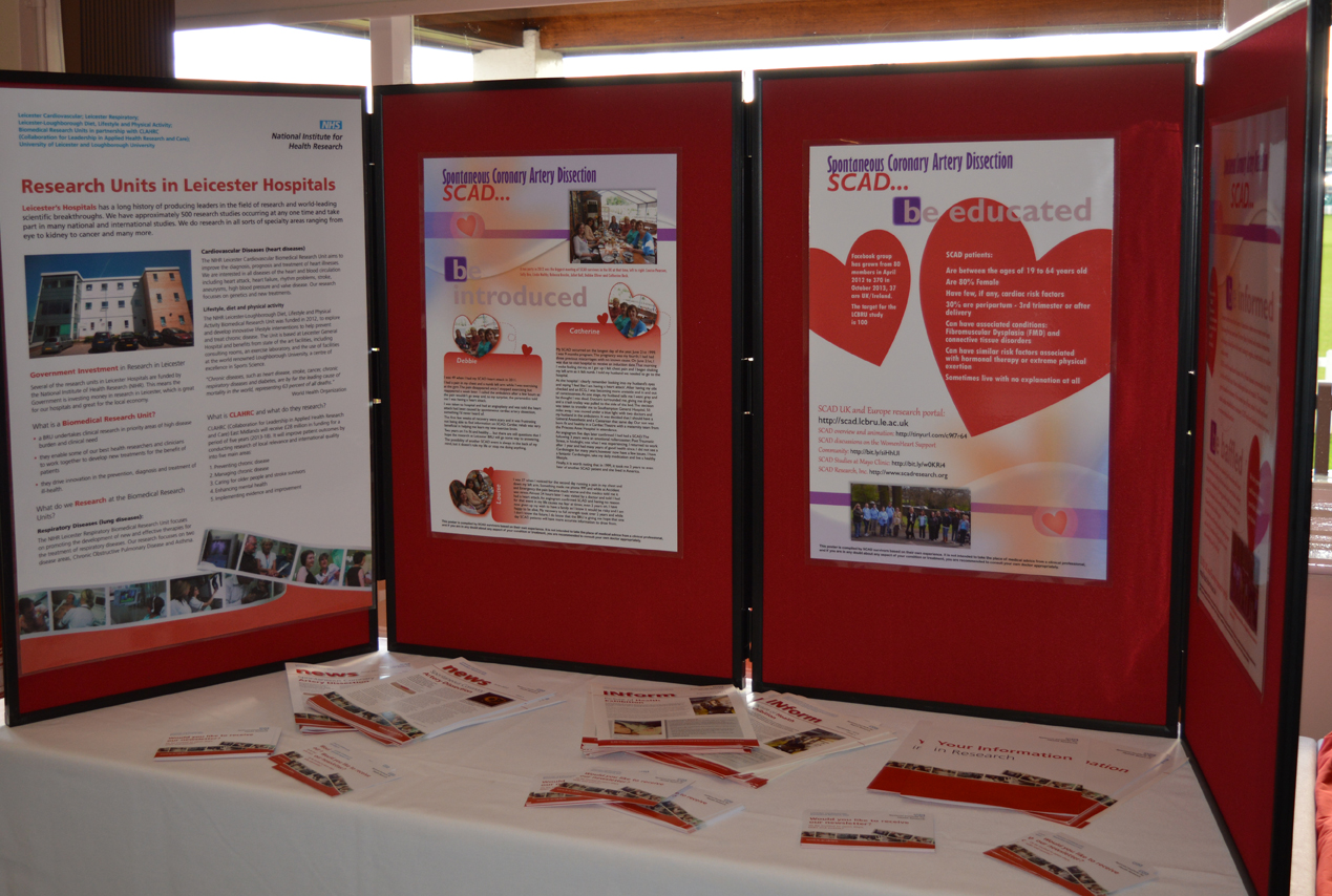Leicester Cardiovascular Biomedical Research Unit displays some of the posters created by SCAD patients to raise awareness of SCAD