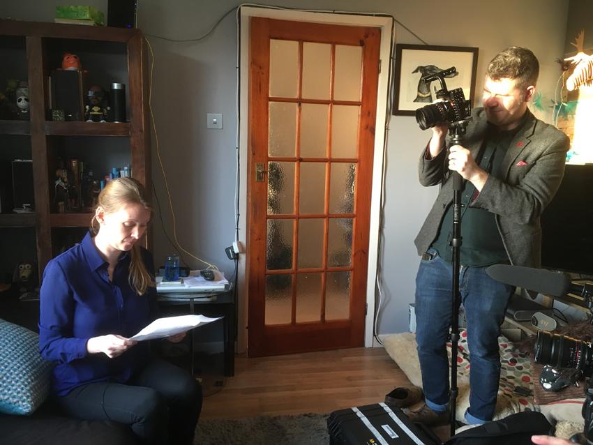 Rebecca Breslin filming for BHF