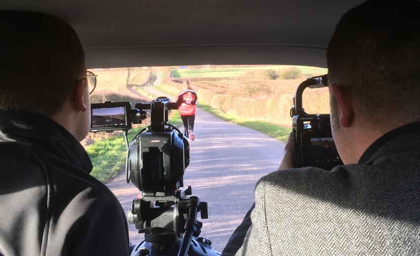 Rebecca Breslin being filmed for BHF