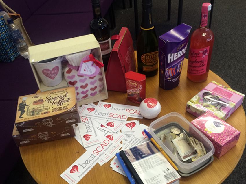 Raffle prizes and Beat SCAD bookmarks raising awareness