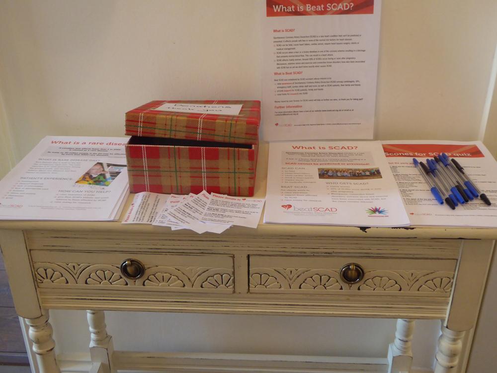 SCAD leaflets at Karen Rockell's Scones for SCAD event