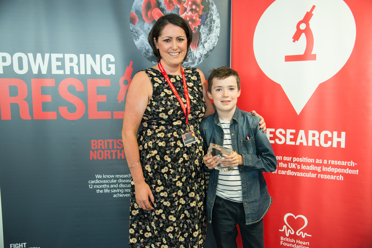 Bronnach Pemberton wins the BHF Heart Heroes Influencing Award in the North of England. Bronnach is pictured with her son Jared.