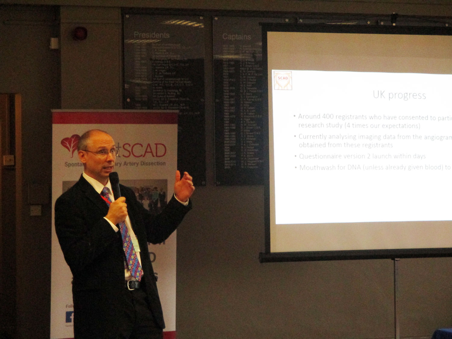 Dr Adlam updating delegates on the research