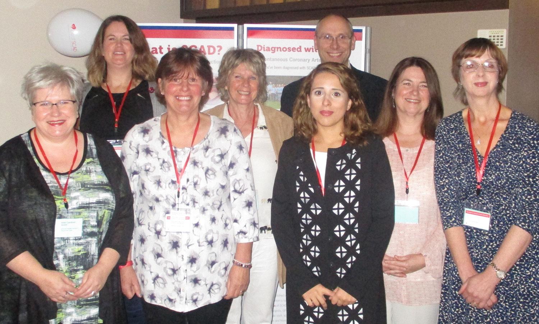 Speakers (l to r): Nikki Gardiner, Harriet Mulvaney, Gaye Barber, Gill Blaney, Dr Abi Al-Hussaini, Dr David Adlam, Catherine Mulcaster, Catherine Beck