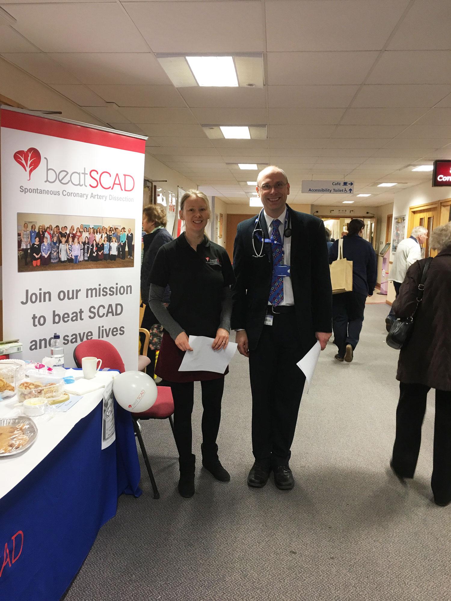 Rebecca Breslin, Dr David Adlam (lead researcher) at Glenfield Hospital