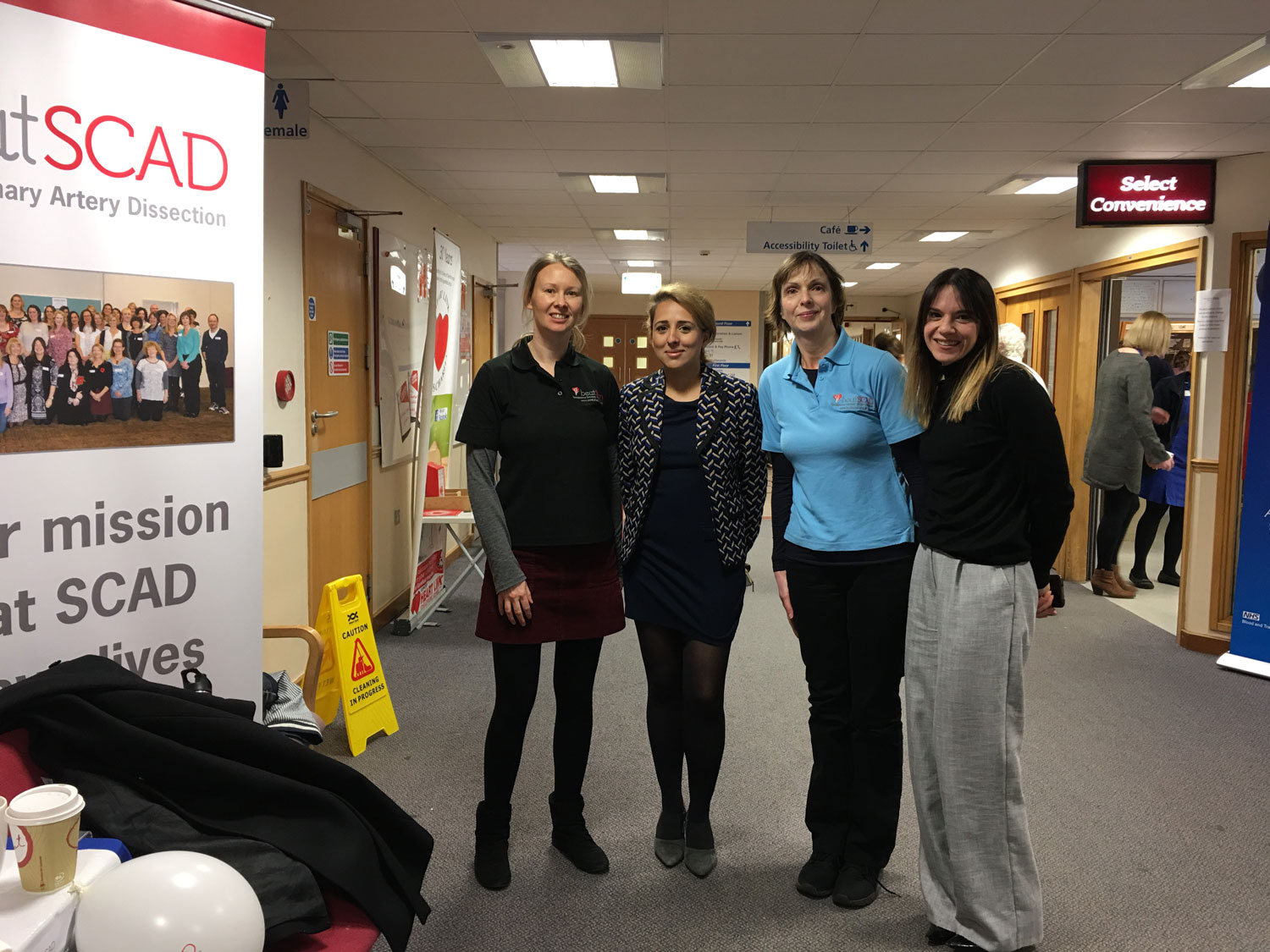 (l to r) Rebecca Breslin, Dr Abi Al-Hussaini (SCAD researcher), Catherine Beck, Fiona Bailey (Orange Juice Communications) at Glenfield Hospital