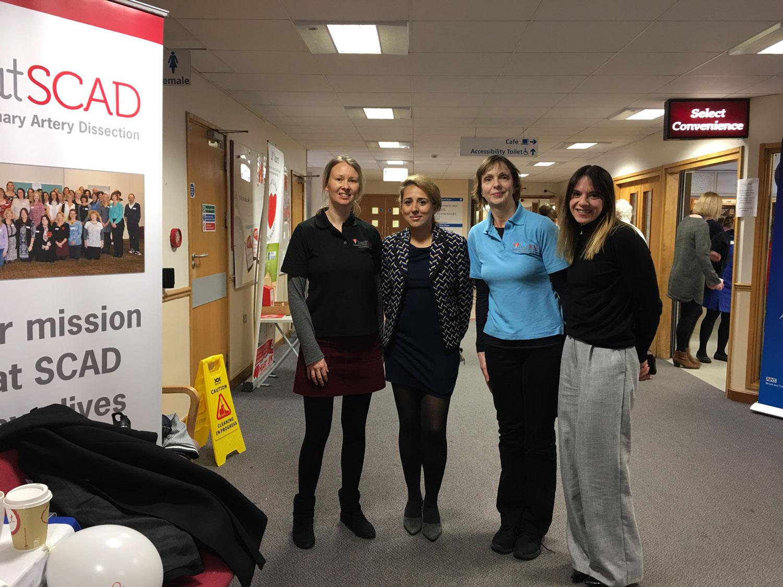 (l to r) Rebecca Breslin, Dr Abi Al-Hussaini (SCAD researcher), Catherine Beck, Fiona Bailey (Orange Juice Communications) at Glenfield Hospital