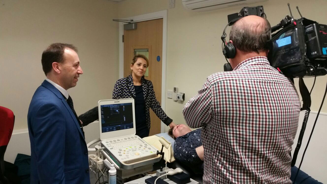 Dr Abi Al-Hussaini and Alex Mortimer being filmed by ITV