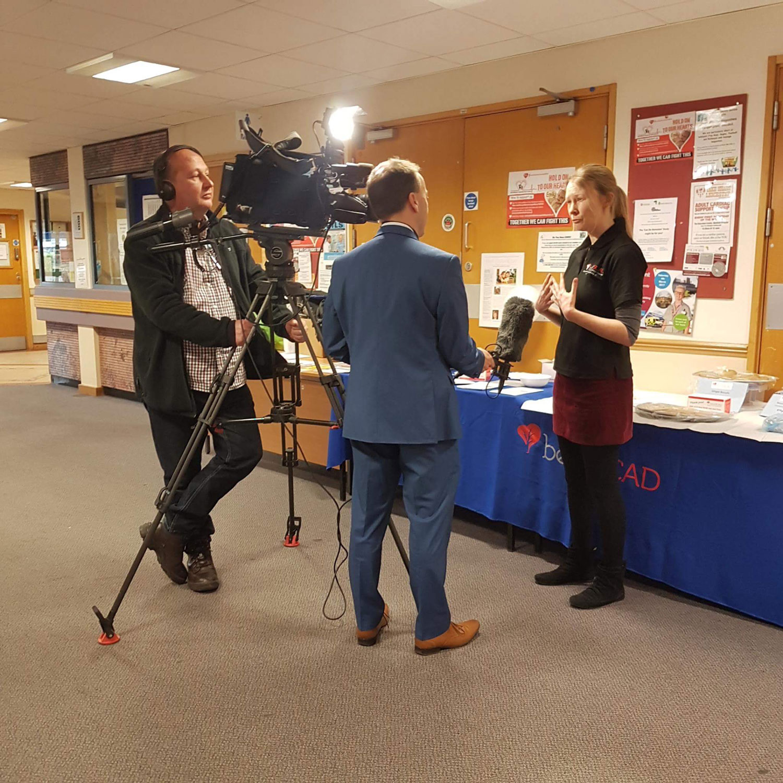 Rebecca Breslin and ITV film crew at Glenfield Hospital