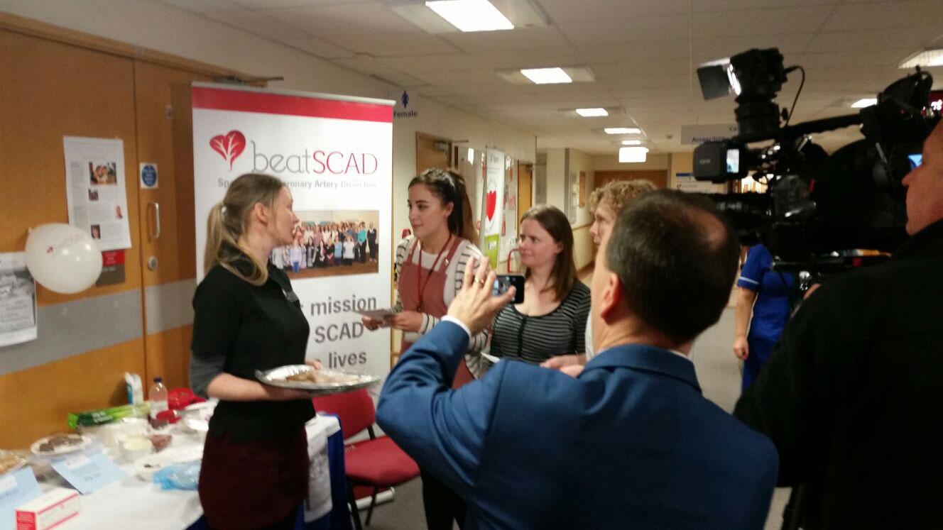 Rebecca Breslin (left), Nicki Owen (third from left) and ITV film crew at Glenfield Hospital